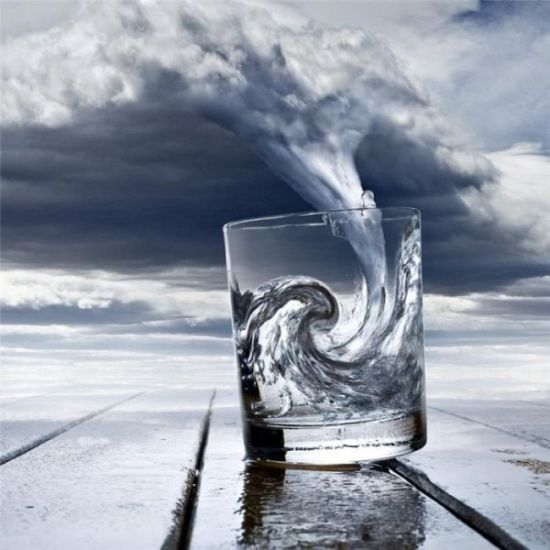 Temp�te verre eau